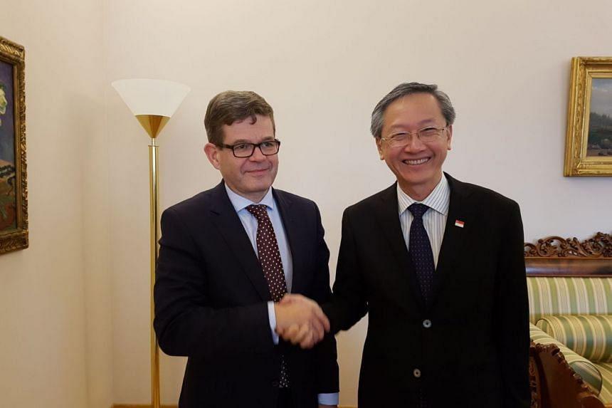 Minister of State in the Prime Minister's Office, Ministry of Manpower and Ministry of Foreign Affairs Sam Tan (left) met Finland's Under Secretary of State for External Economic Relations at the Ministry of Foreign Affairs Markku Keinänen in Helsin