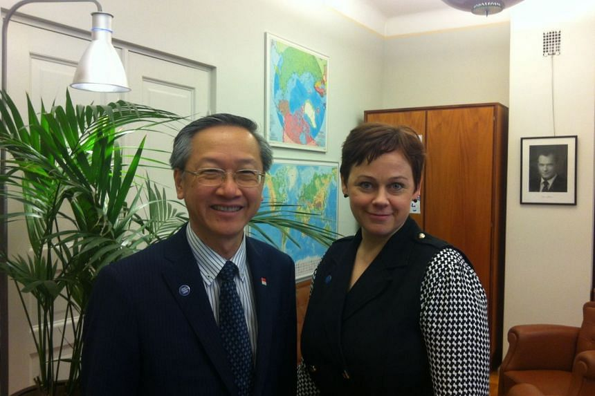 Minister of State in the Prime Minister's Office, Ministry of Manpower and Ministry of Foreign Affairs Sam Tan (left) met Finland's State Secretary at the Prime Minister's Office Paula Lehtomäki in Helsinki during a bilateral working visit.