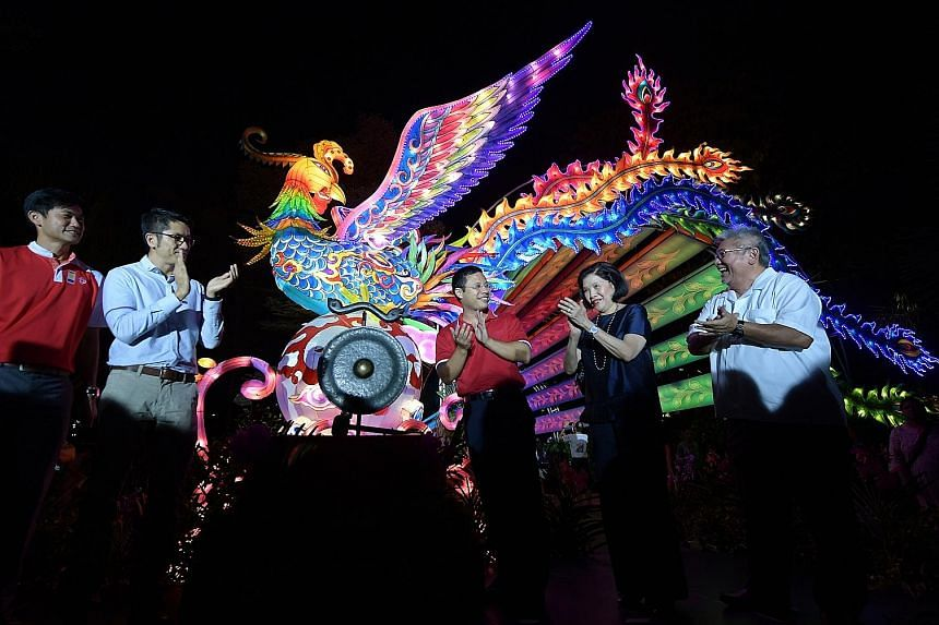 A fortnight of Mid-Autumn festivities at Gardens by the Bay kicked off last night with the lighting of a lantern display, the Arrival of the Phoenix, a mythical bird associated with warmth and harvest. At the launch were (from far left) People's Asso