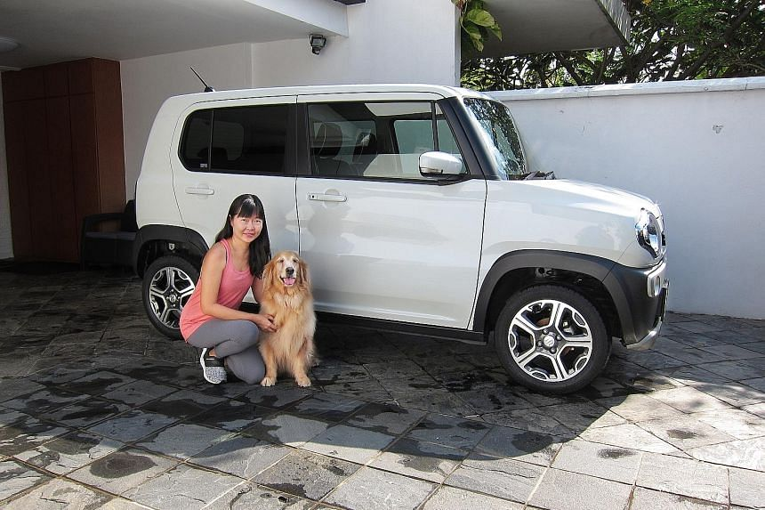 The Suzuki Hustler's seats fold and slide in various ways, allowing Madam Poh Su Lin, a dog trainer, to configure the interior as needed when she is ferrying her dogs about.
