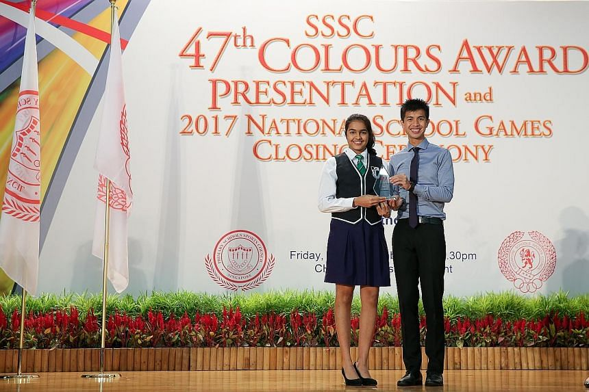It has been a fruitful sporting year for Sneha Sivakumar, who received her Singapore Schools Sports Council (SSSC) Best Sportsgirl award for squash from guest of honour and marathoner Ashley Liew at the Colours Awards Presentation and National School
