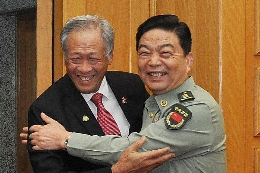 Dr Ng Eng Hen with General Chang Wanquan in Beijing on Thursday. Mindef said the two ministers agreed to reaffirm the commitment to deepen defence ties and build mutual trust and practical cooperation between both countries.