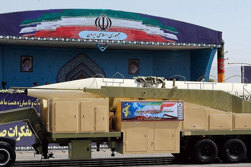 Iran yesterday showed off a new long-range missile, named Khoramshahr, during an annual military parade marking the Iraqi invasion in 1980. The missile is said to have a range of 2,000km.