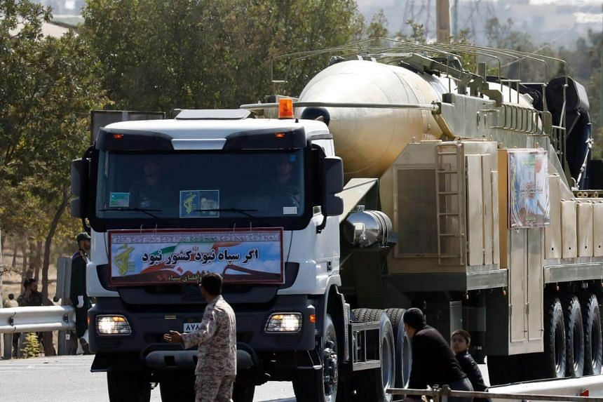 The Iranian long range missile Khoramshahr is displayed during the annual military parade marking the Iraqi invasion in 1980, in Teheran, on Sept 22, 2017.