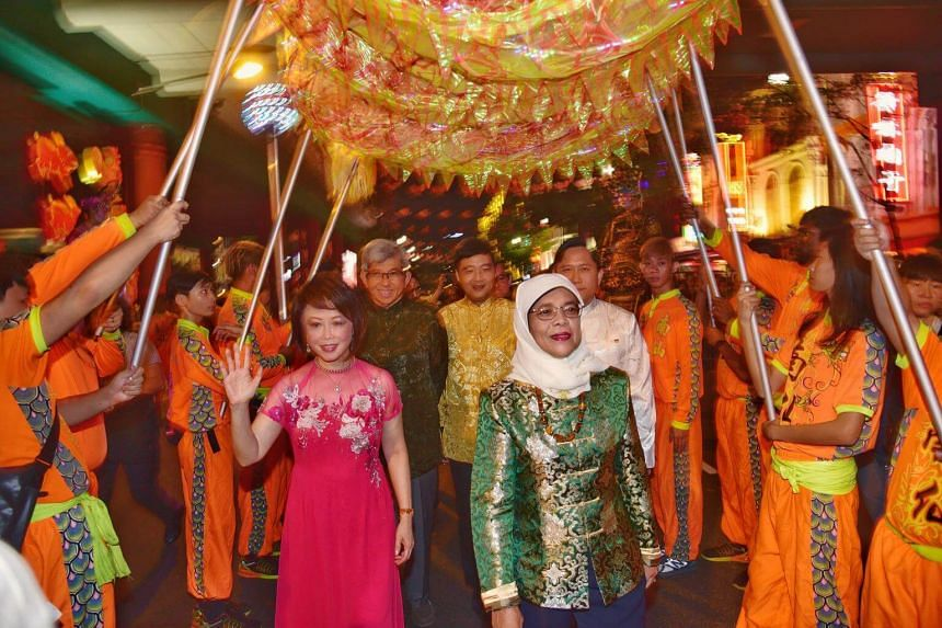President Halimah Yacob at the official light-up and opening ceremony of this year's Chinatown Mid-Autumn Festival.