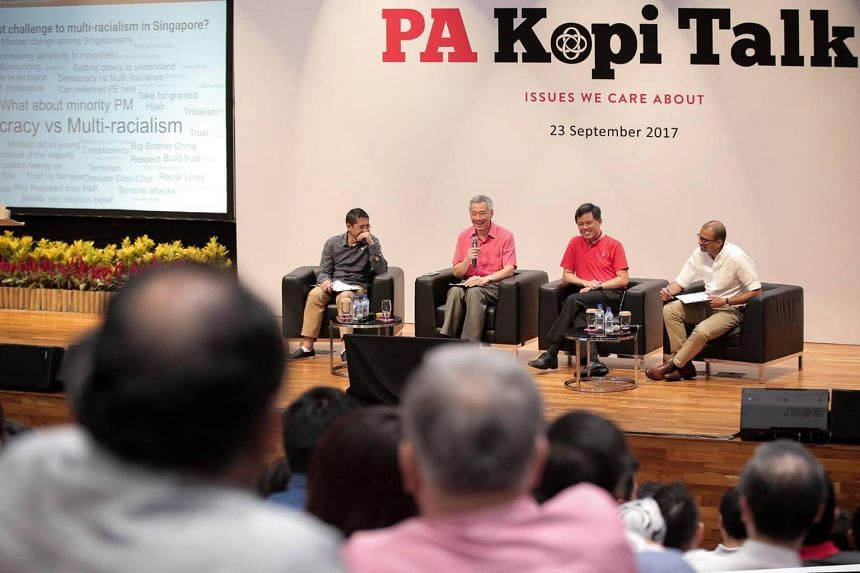 """PM Lee Hsien Loong at a Kopi Talk dialogue with 500 grassroots leaders on the theme """"Race, multiracialism and Singapore's place in the world"""" on Sept 23, 2017."""