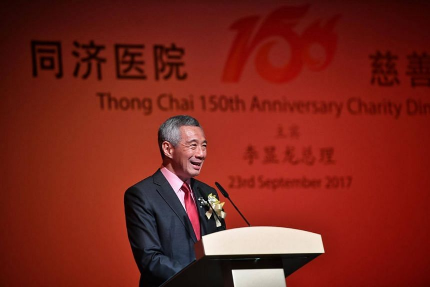 Prime Minister Lee Hsien Loong at the 150th anniversary dinner of Singapore Thong Chai Medical Institution on Sept 23, 2017.
