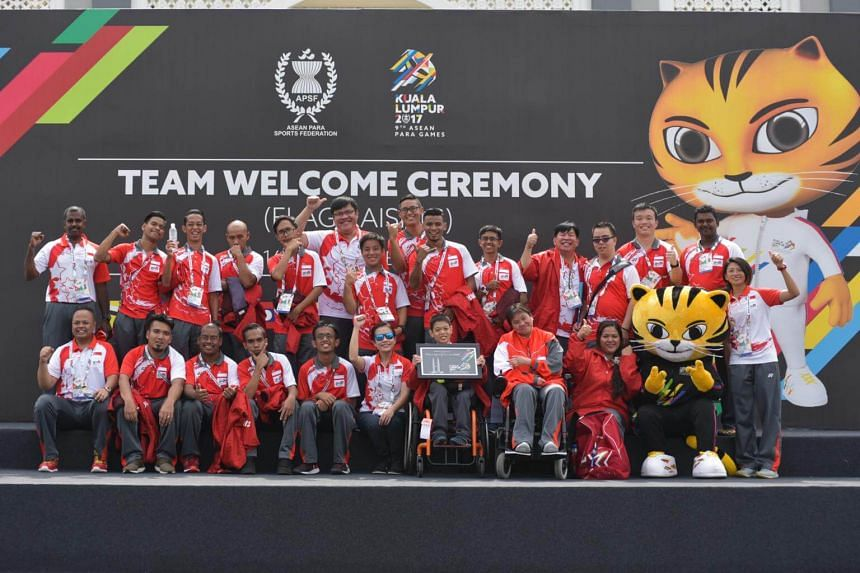 Team Singapore Asean Para Games squad at the flag-raising and welcome ceremony.