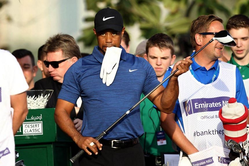 Tiger Woods of the United States after playing a shot during the Dubai Desert Classic golf tournament at the Emirates Golf Club in Dubai on Feb 1, 2017.