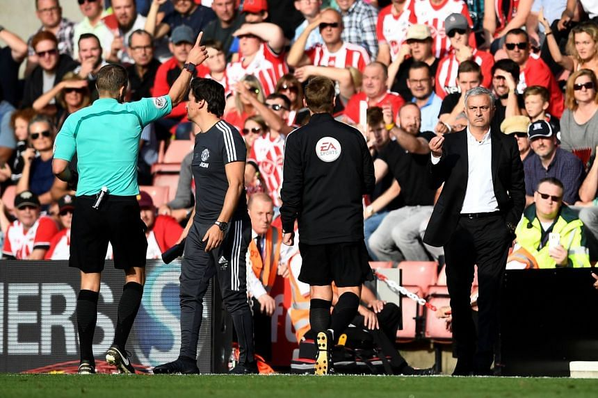 Jose Mourinho is sent to the stands by referee Craig Pawson.