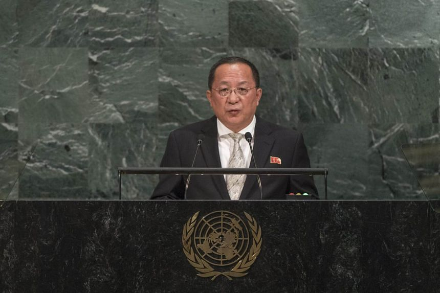 North Korean Minister for Foreign Affairs Ri Yong Ho speaking during the General Debate of the 72nd United Nations General Assembly at UN headquarters in New York on Sept 23, 2017.