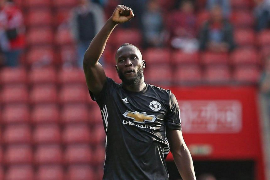 Manchester United's Romelu Lukaku celebrates his teams win after the English Premier League soccer match between Southampton FC and Manchester United at Saint Mary's Stadium in Southampton, on Sept 23, 2017.