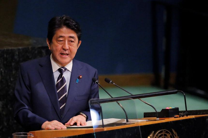 Japanese Prime Minister Shinzo Abe addresses the 72nd United Nations General Assembly at UN headquarters in New York, on Sept 20, 2017.