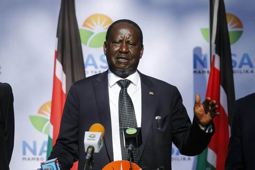 Raila Odinga speaking during a news conference in Nairobi, Kenya, on Sept 22, 2017.