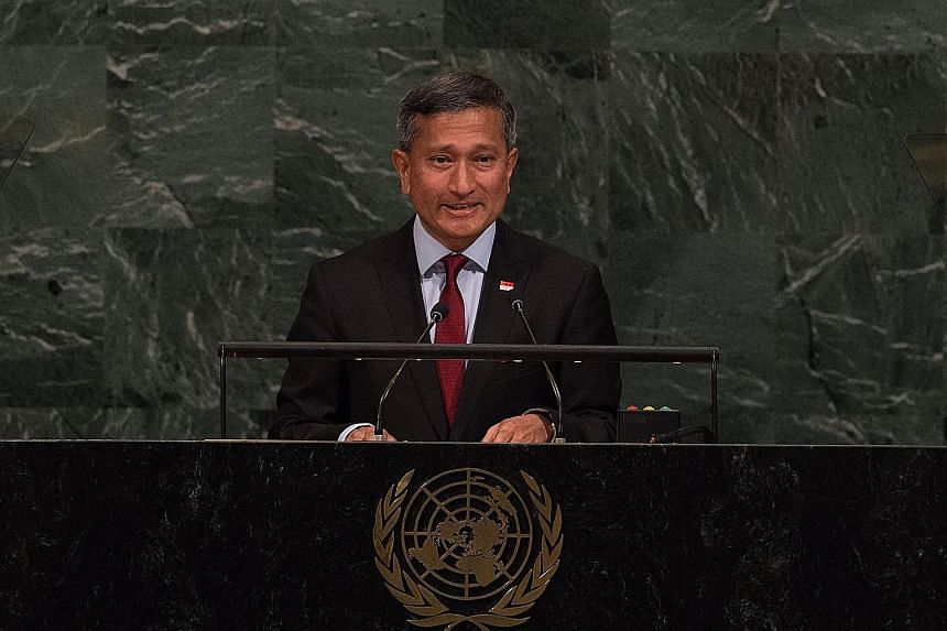 Foreign Minister Vivian Balakrishnan addressing the 72nd session of the United Nations General Assembly in New York yesterday.