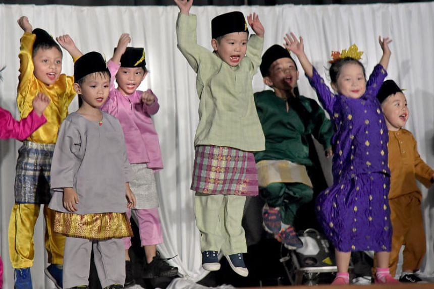 Performance by PAP Community Foundation (PCF) Sparkletots Preschool children during Malay Language Month celebrations at Northbrooks Secondary School on Sept 24, 2017.