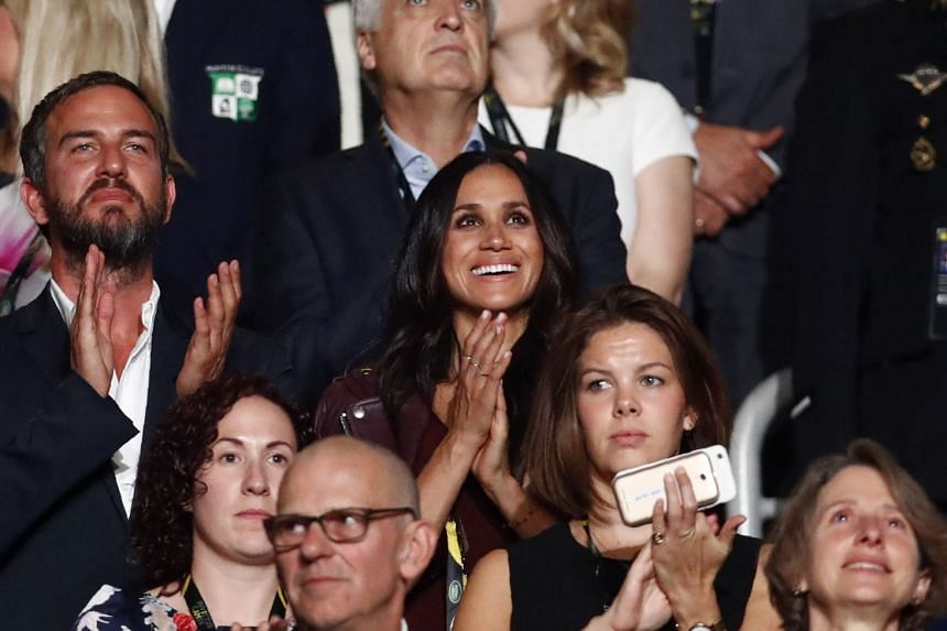 Meghan Markle, girlfriend of Britain's Prince Harry, watches the opening ceremony for the Invictus Games in Toronto, Canada, on Sept 23, 2017.