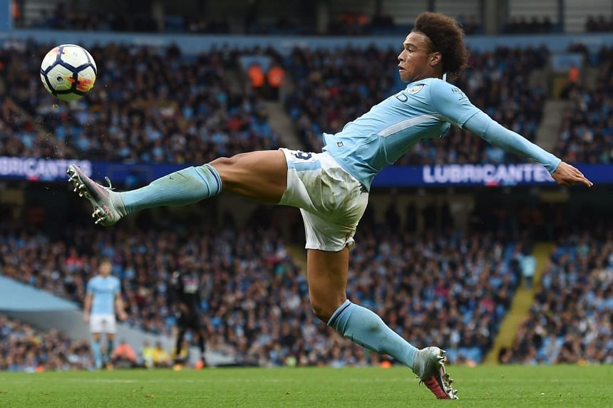 Sane stretches for the ball during the match against Crystal Palace.