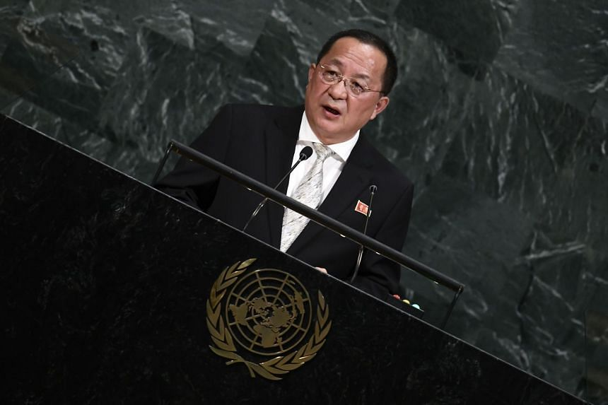 North Korea's Foreign Minister Ri Yong Ho addresses the UN General Assembly.