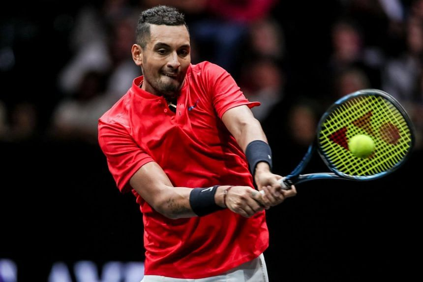 Nick Kyrgios hitting a shot against Roger Federer during the Laver Cup tournament in Prague on Sept 24, 2017.