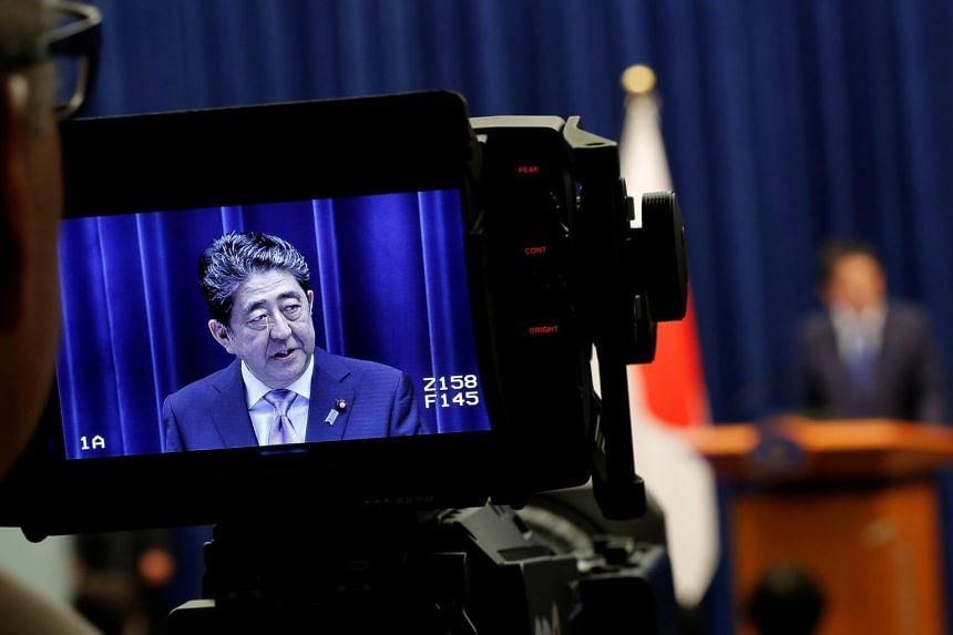 Japanese PM Shinzo Abe speaking at a news conference at his official residence in Tokyo on Sept 25, 2017.