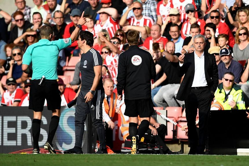 Manchester United manager Jose Mourinho being sent to the stands by referee Craig Pawson during the EPL match against Southampton on Sept 23, 2017.