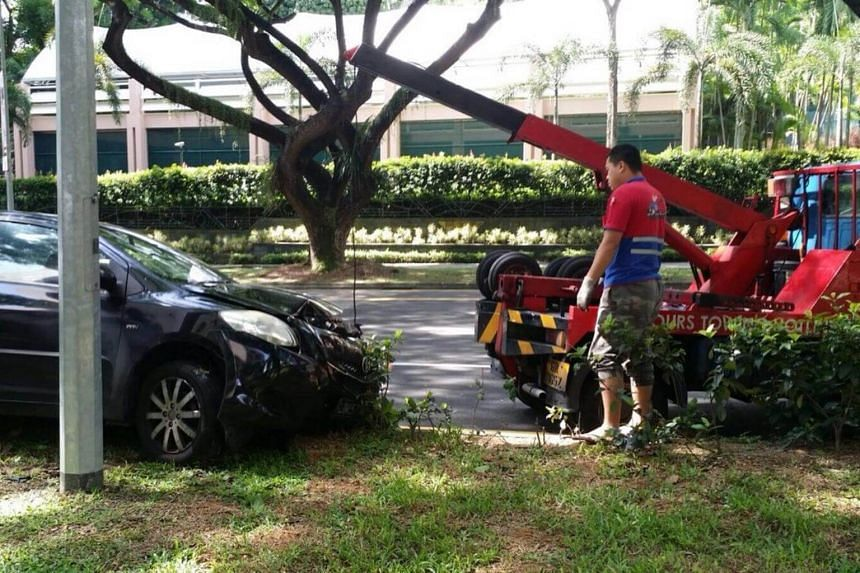 A 58-year-old man was taken to hospital after crashing his car into a lamp post along Orchard Boulevard on Monday (Sept 25) morning.