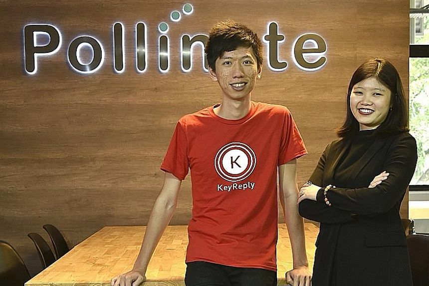 Mr Max Xu and Ms Carylyne Chan of KeyReply. Their online robot will answer queries posted by users on the gov.sg Facebook page.