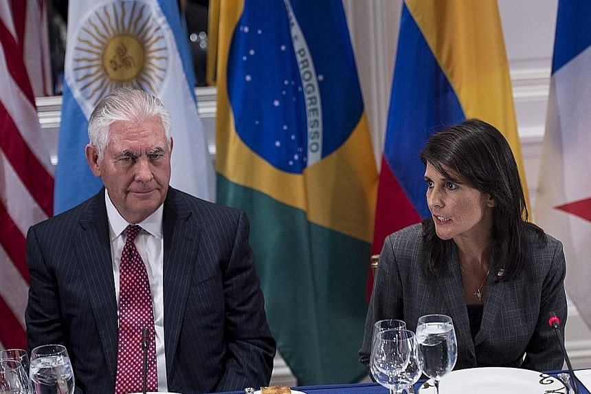 US Secretary of State Rex Tillerson listening as US Ambassador to the UN Nikki Haley spoke at a dinner with Latin American and US leaders during the United Nations General Assembly in New York last week.