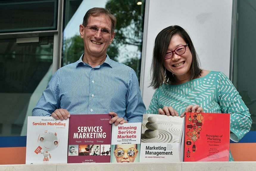 Textbooks by NUS professors Ang Swee Hoon and Jochen Wirtz include questions that may prompt discussion of newer firms not included in the books.