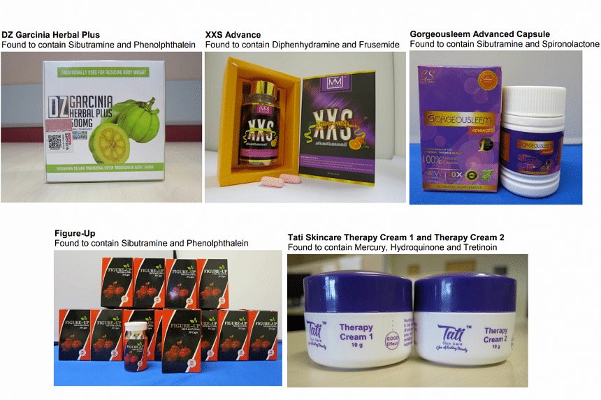 Samples of the illegal health and beauty products seized by HSA, with a listing of the banned substances that were found in them.