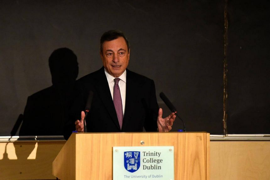 ECB president Mario Draghi speaking at Trinity College in Dublin on Sept 22, 2017.