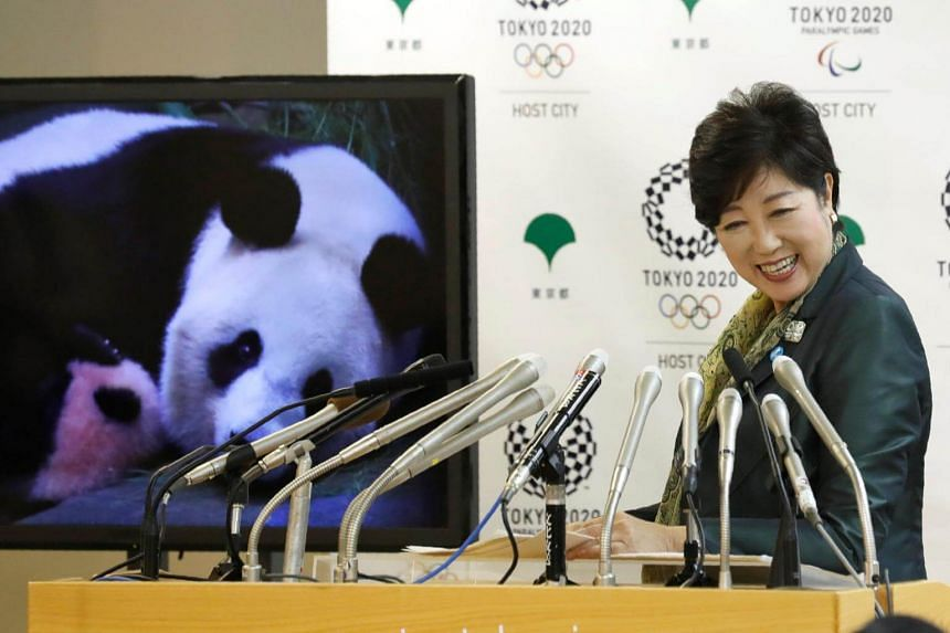 Tokyo Governor Yuriko Koike at a news conference to announce the name of the new panda cub, born at Tokyo's Ueno Zoological Gardens.