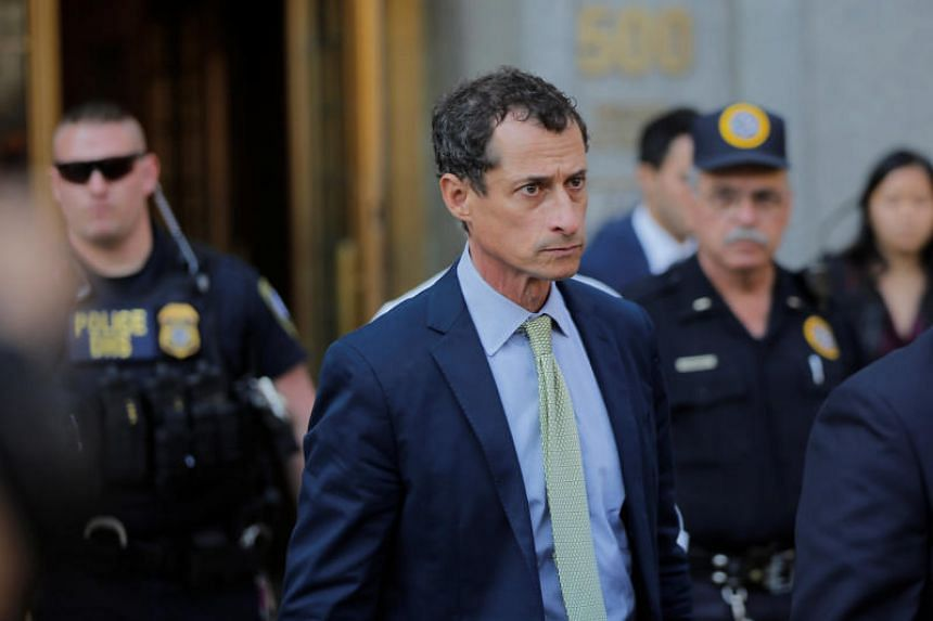 Anthony Weiner departs the US Federal Court, following his sentencing after pleading guilty to one count of sending obscene messages to a minor in New York, on Sept 25, 2017.