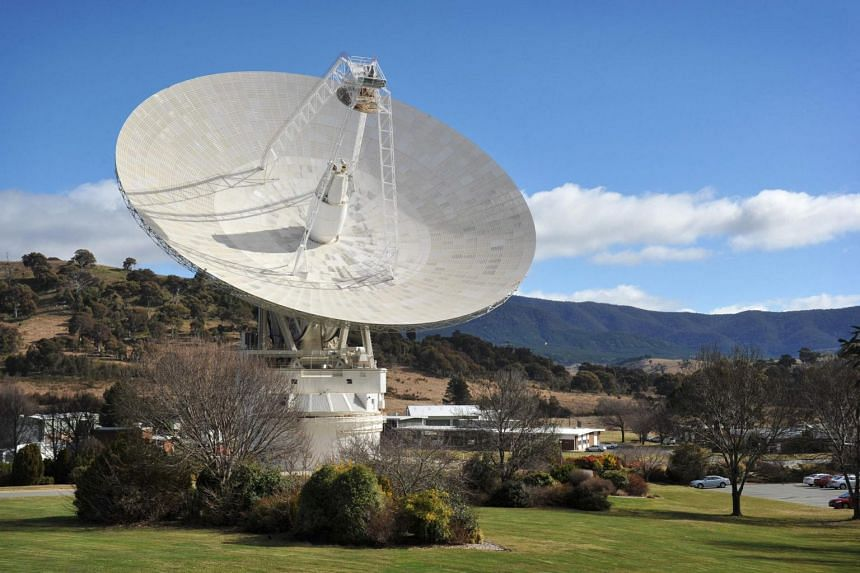 A view of the 70-metre dish while tracking Nasa's Mars science laboratory car-sized rover Curiosity at the Canberra Deep Space Communication Station at Tidbinbilla in Canberra in 2012.