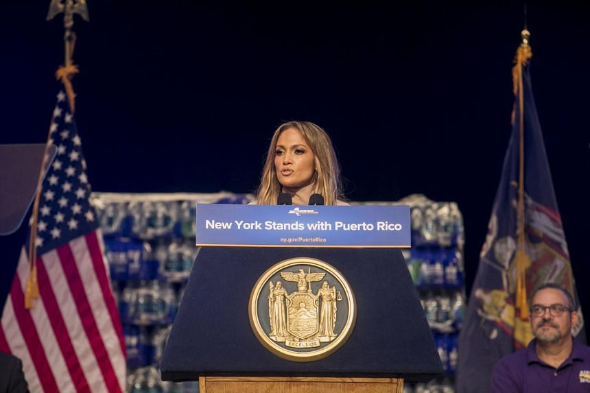 Jennifer Lopez speaks at an event about recovery efforts in Puerto Rico in New York, on Sept 24, 2017.