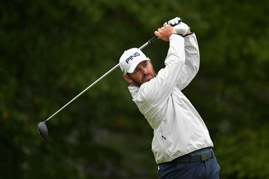 Louis Oosthuizen of South Africa plays his shot from the fourth tee during round three of the Dell Technologies Championship at TPC Boston, on Sept 3, 2017.