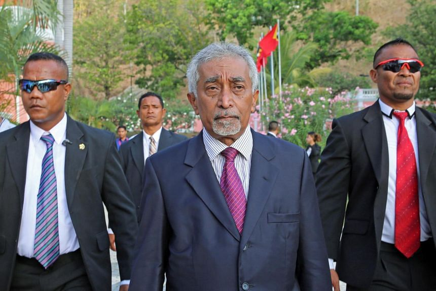East Timor Prime Minister Mari Alkatiri (centre) after his swearing-in ceremony in Dili, East Timor, on Sept 15, 2017.
