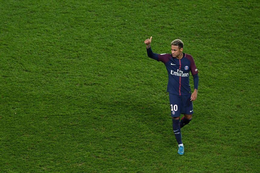 Paris Saint-Germain's Brazilian forward Neymar acknowledges the fans following the team's 2-0 win in the French L1 football match between Paris Saint-Germain and Olympique Lyonnais, on Sept 17, 2017.