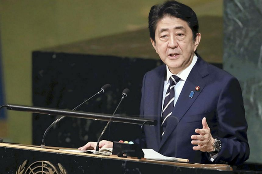 Prime Minister Shinzo Abe addresses the UN General Assembly at the UN headquarters in New York on Sept 20, 2017.