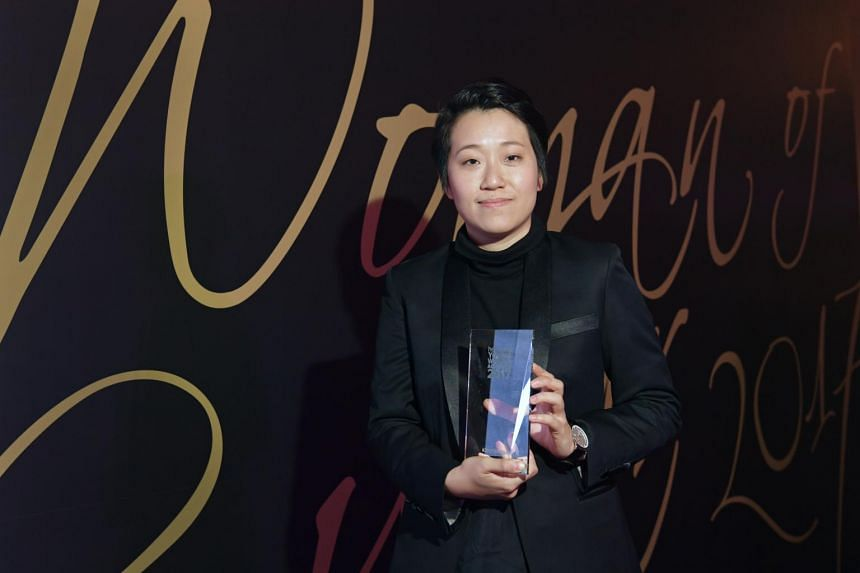 Film-maker Kirsten Tan, 36, with the Her World Young Woman Achiever 2017 award. Her debut feature-length film Pop Aye clinched a prize at the Sundance Film Festival.