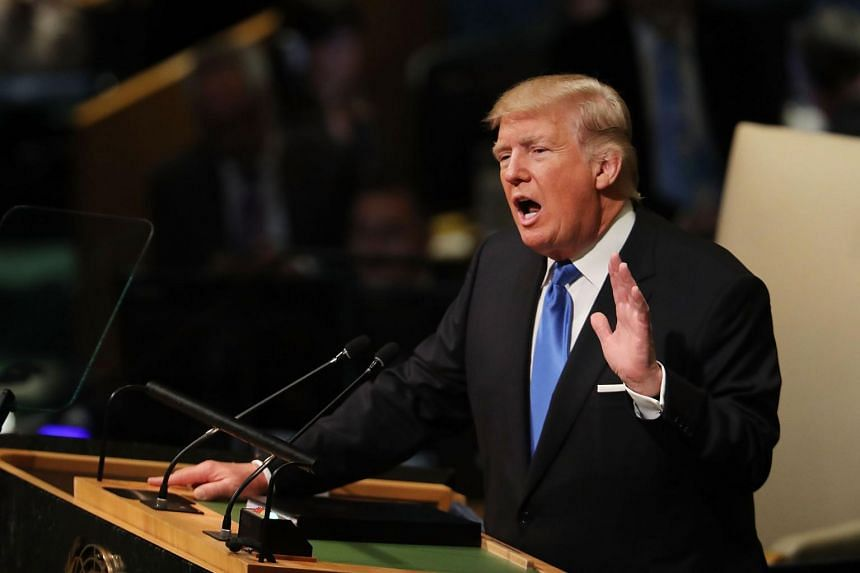 President Donald Trump speaks to world leaders at the 72nd United Nations (UN) General Assembly at UN headquarters in New York, on Sept 19, 2017.