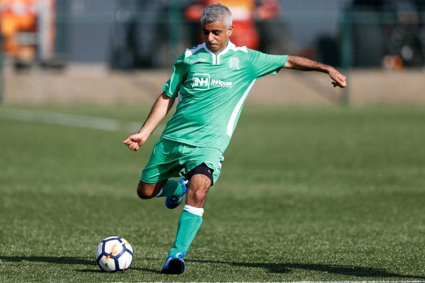 The mayor of London, Sadiq Khan, participates in the annual Labour Party versus Journalists soccer match, in Brighton on Sept 24, 2017.