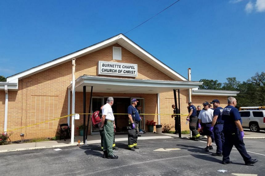 The scene where people were injured when gunfire erupted at the Burnette Chapel Church of Christ, in Nashville, Tennessee on Sept 24, 2017