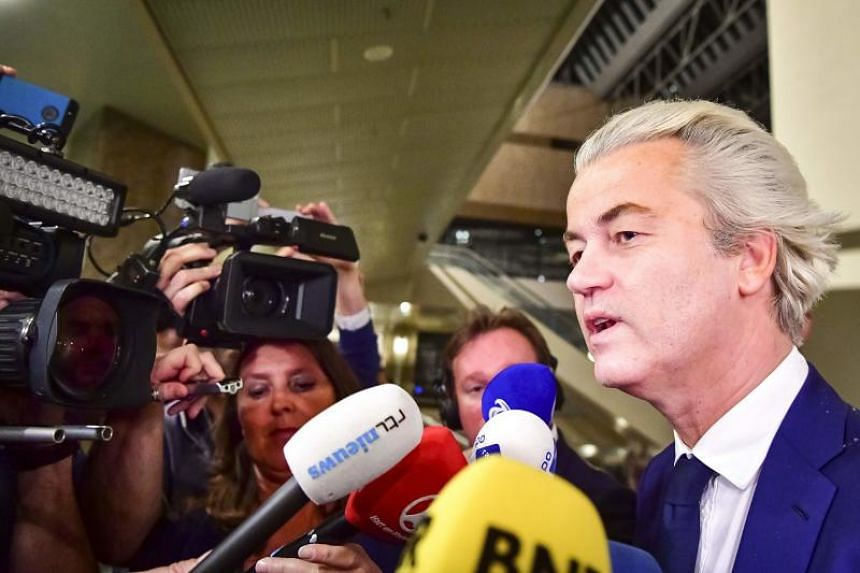 PVV leader Geert Wilders speaks to the press in The Hague, on March 15, 2017.
