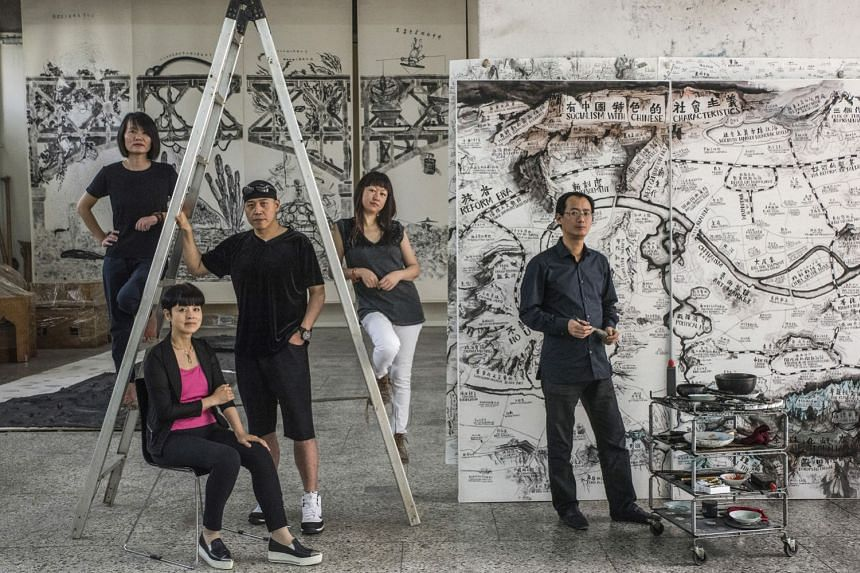 Artist Qiu Zhijie (above right, with fellow artists, from left, Kan Xuan, Yu Hong, Sun Yuan and Peng Yu) and his ink-on-paper map artwork, which was commissioned for the Art And China After 1989 exhibition.