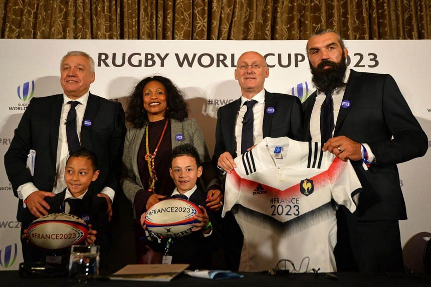 The French rugby federation flew the late All Blacks legend Jonah Lomu's sons, seven-year-old Dhyreille and Brayley, eight, over from New Zealand with their mother Nadene (not pictured) for the event in London.