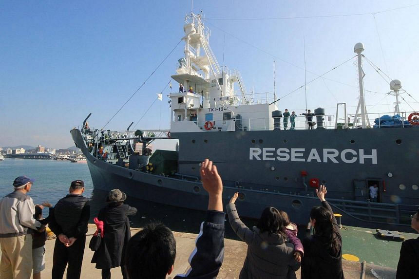 A Japanese whaling ship leaving the port of Shimonoseki in Yamaguchi prefecture in 2015. Japan said it killed 177 whales during its annual campaign, angering animal rights activists.