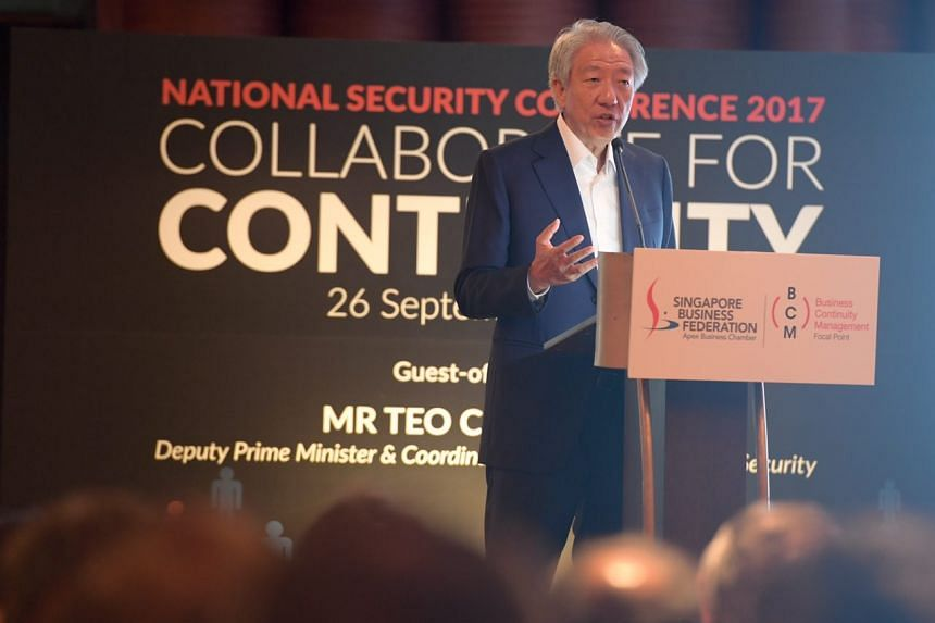 DPM Teo Chee Hean speaking at the National Security Conference on Sept 26, 2017.