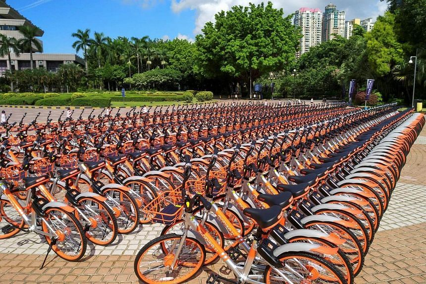 Mobike's shared bikes are lined up in Shenzhen, Guangdong province.
